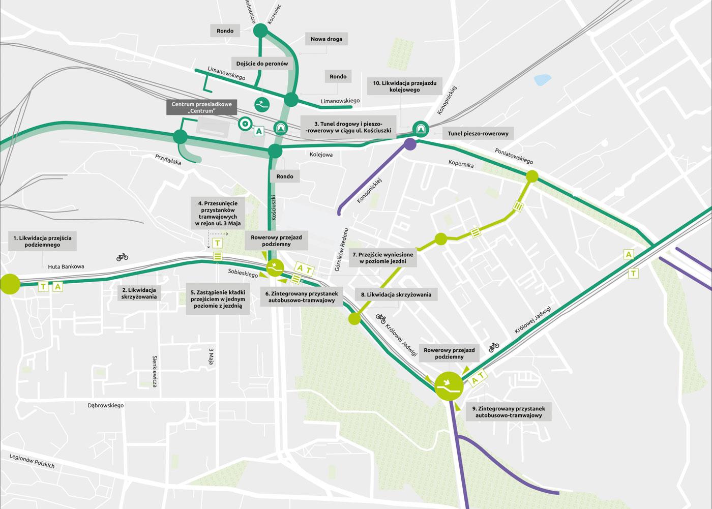 Powiększ mapę Centrum Sobieskiego, Kościuszki i Królowej Jadwigi