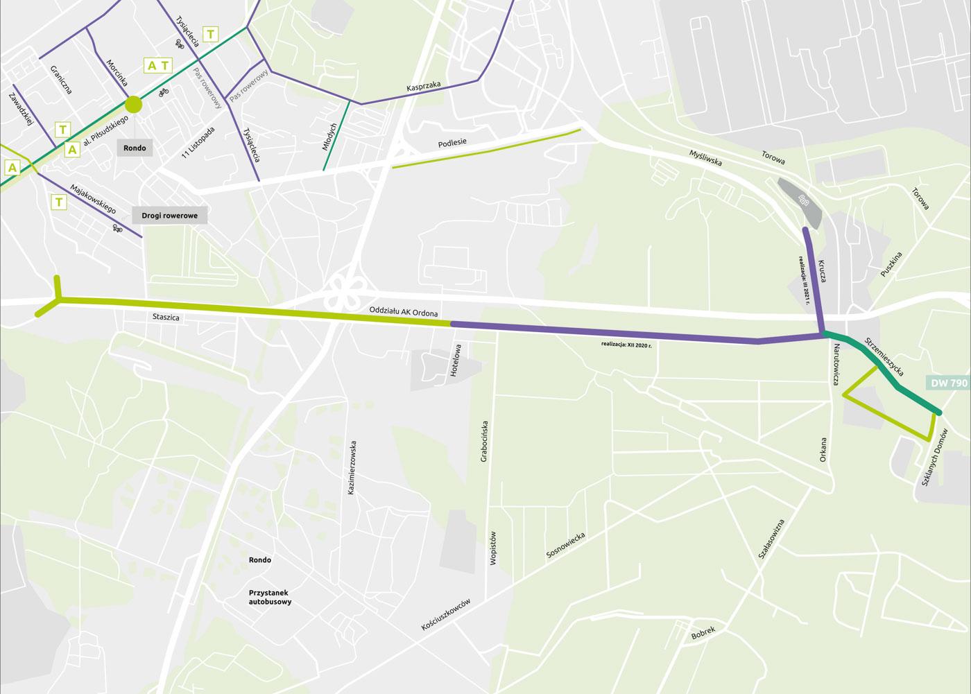 Powiększ mapę nowego układu drogowego Strzemieszyce Staszic